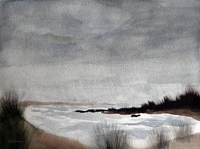 Turbulent Skies Painting - Stormy Cove by Leslie M Browning