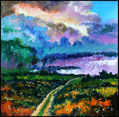Storm Clouds Painting - Stormy Road by John Lautermilch