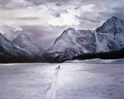 Eklutna Painting - Stormy Ski On Eklutna by Karen Copley