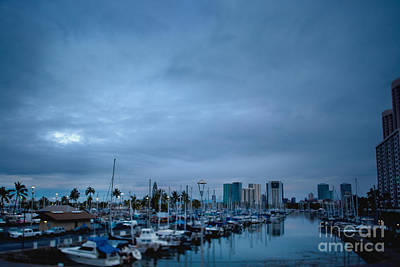 Stormy Skies Over Boat Harbor At Night, Honolulu, Hawaii Art Print by Inti St. Clair