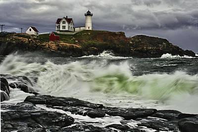 Nubble Lighthouse Photograph - Stormy Tide by Rick Berk