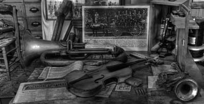 Stradivarius And Trumpet At Rest - Violin - Nostalgia - Vintage - Music -instruments  - II Art Print