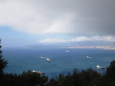 Photograph - Strait Of Gibraltar Bay View Ships II Uk by John Shiron