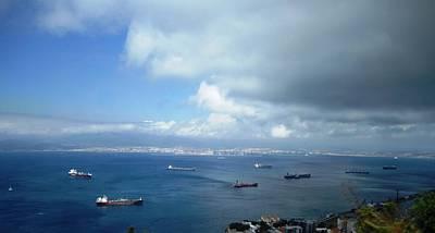 Photograph - Strait Of Gibraltar Bay View Ships Uk by John Shiron