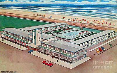 Strand Motel And Restaurant In Atlantic City N J 1950's Art Print by Dwight Goss