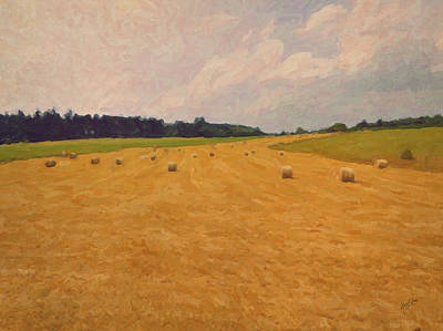 Hill Painting - Straw Rolls by Nop Briex