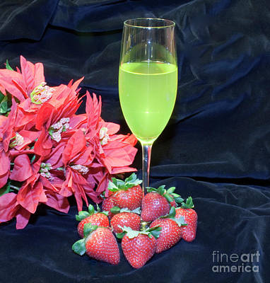 Strawberries And Wine Art Print by Michael Waters