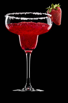 Photograph - Strawberry Margarita In Front Of A Black Background by U Schade