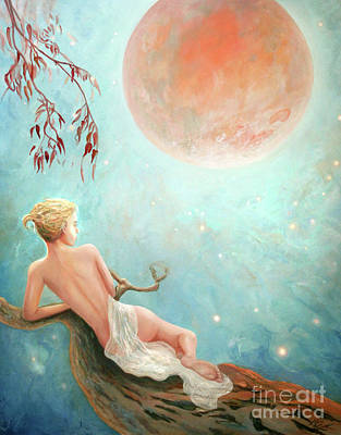Strawberry Moon Nymph Art Print by Michael Rock