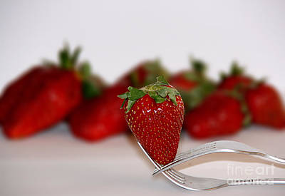 Strawberry On Spoon Art Print by Soultana Koleska