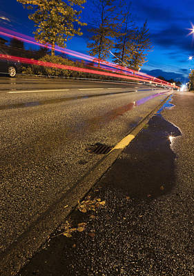 Y120817 Photograph - Streaking Car Lights On Road, Kopavogur, Southwest Iceland, Iceland by Atli Mar Hafsteinsson