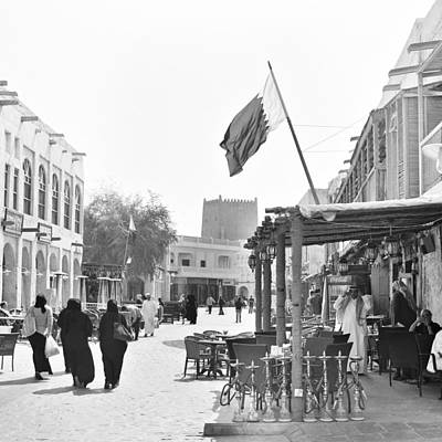 Souq Photograph - Street Cafe In Doha Souq by Paul Cowan