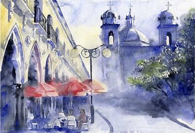 Street Cafe Art Print by Tania Vasylenko
