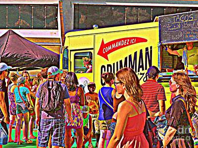 Hot Dog Stand Painting - Street Food Vendor Grumman 78 - Montreal's Famous Taco Truck Carole Spandau Montreal City Scenes   by Carole Spandau
