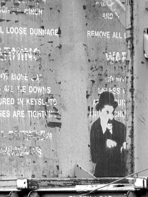 Street Graffiti Art - The Little Tramp Bw Art Print