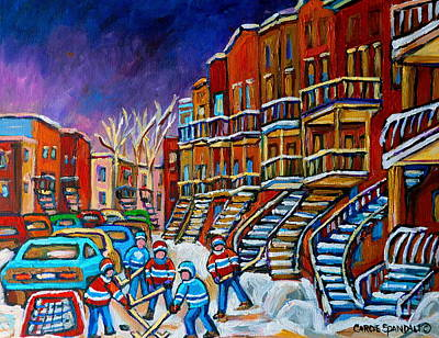Street Hockey Game In Winter Print by Carole Spandau