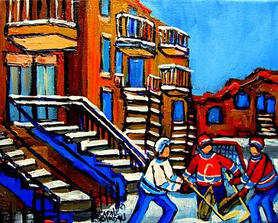 Art Of Hockey Painting - Street Hockey Near Staircases Montreal Winter Scene by Carole Spandau