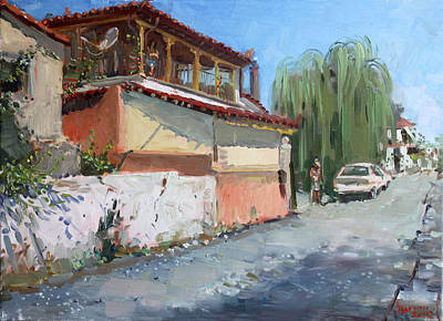Street In A Greek Village Art Print by Ylli Haruni