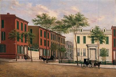 Carriage Horses Painting - Street In Brooklyn by American School