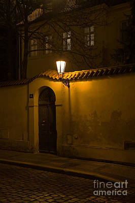 Street In Prague By Night Art Print