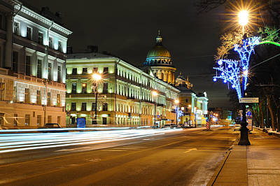 Christmas Holiday Scenery Photograph - Street In Saint Petersburg by Roman Rodionov