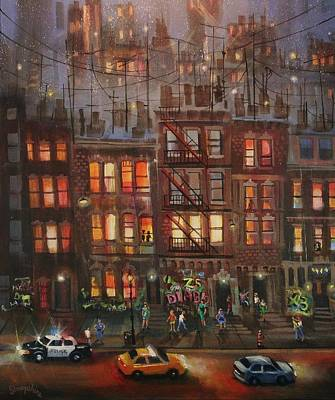 Chicago At Night Painting - Street Life by Tom Shropshire