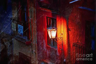 Street Light On Calle Quebrada Art Print by John  Kolenberg