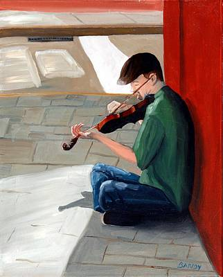 City Scape Painting - Street Musician 3 by Todd Bandy