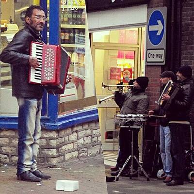 Music Photograph - #street #musicians In #oswestry #wales by Alexandra Cook