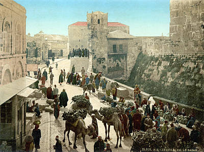 Tower Of David Photograph - Street Of The Tower Of David by Everett
