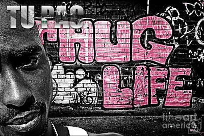 Ghetto Mixed Media - Street Phenomenon 2pac by The DigArtisT