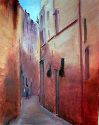 Art Print featuring the painting Street Scene  Malta by Rosemarie Hakim
