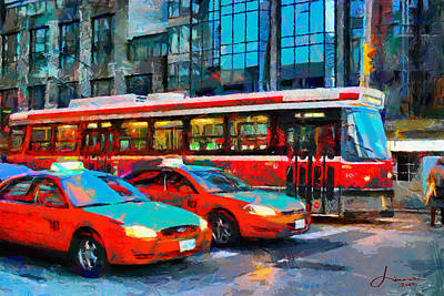 Streetcars Digital Art - Streetcar And Taxi Cabs In Downtown Toronto Tnm by Vincent DiNovici