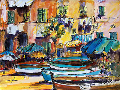 Portofino Italy Painting - Streets Of Portofino Italy by Ginette Callaway