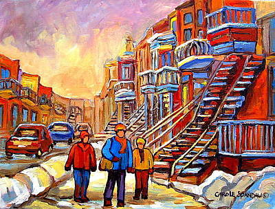 Of Verdun Winter City Scenes By Montreal Artist Carole Spandau Painting - Streets Of Verdun Montreal Staircase Painting   by Carole Spandau