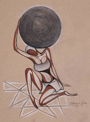 Drawing - Strenght Of A Woman by Chibuzor Ejims