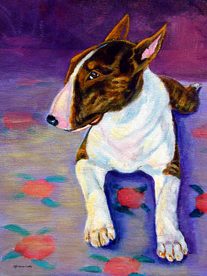 Bull Terrier Painting - Stretch - Bull Terrier by Lyn Cook