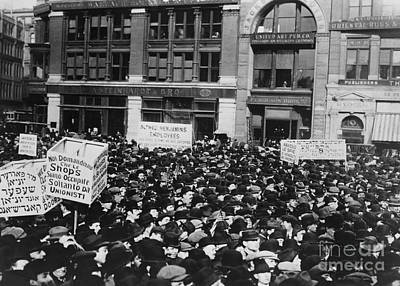 Strikers In Union Square Print by Photo Researchers
