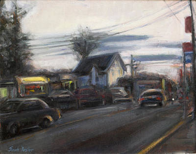 Main Street Corners Painting - Strip Mall by Sarah Yuster