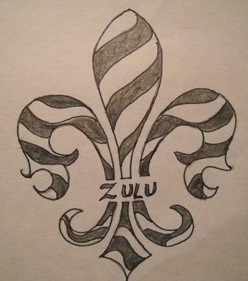 Mardi Gras Drawing - Striped Zulu by Marian Hebert