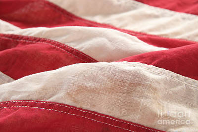 Stripes Of An Old American Flag Art Print by Ruby Hummersmith