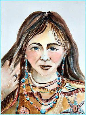 Indian Princess Painting - Stroking Her Hair by Mindy Newman
