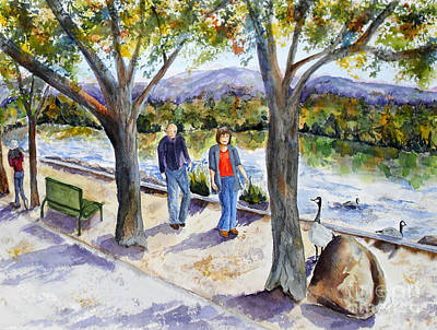 Canadian Geese Painting - Strolling Virginia Lake by Vicki  Housel