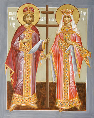 Egg Tempera Painting - Sts Constantine And Helen by Julia Bridget Hayes