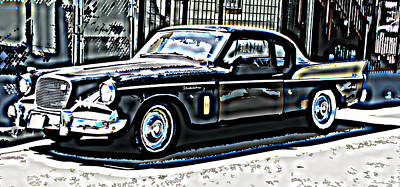 Studebaker Golden Hawk 2 Art Print by Samuel Sheats