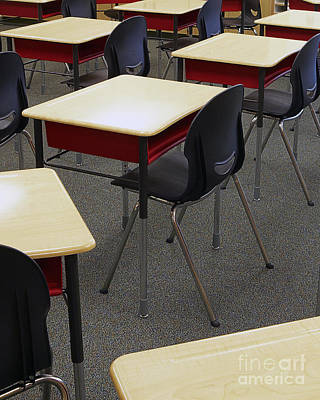 Ambition Photograph - Student Desks In Classroom by Skip Nall