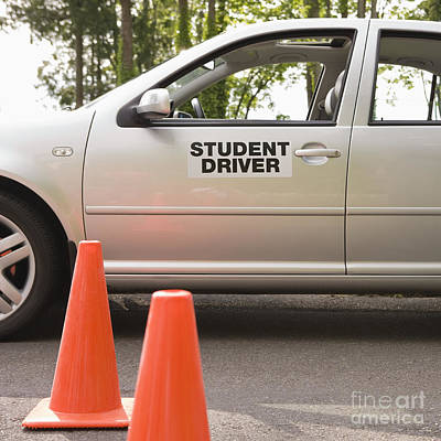 Student Driver Car And Traffic Cones Art Print by Andersen Ross
