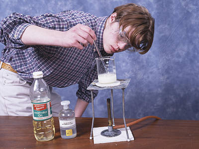 Oil Burner Photograph - Student Making Soap by Andrew Lambert Photography