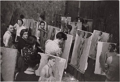 Of Painter Photograph - Students Practicing Painting Nudes by Maynard Owen Williams