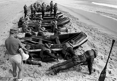 Inflatable Boats Photograph - Students Wait By Their Inflatable by Michael Wood